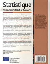 Statistique pour économistes et gestionnaires - 4ème de couverture - Format classique