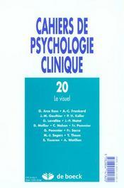 Cahiers De Psychologie Clinqiue 2003/1 - N.20 Le Visuel - 4ème de couverture - Format classique