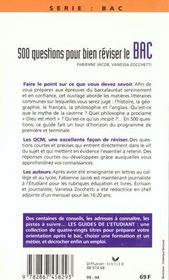 500 Questions Pour Reviser Le Bac - 4ème de couverture - Format classique