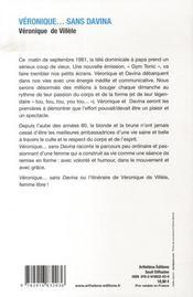 Véronique... sans davina - 4ème de couverture - Format classique