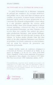 Dictionnaire De La Litterature Espagnole. - 4ème de couverture - Format classique