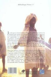 Carnets de route au Dar For, Soudan 1965-1970 - 4ème de couverture - Format classique