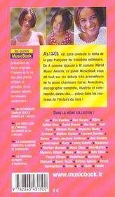 Alizee De A A Z - 4ème de couverture - Format classique
