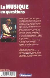 La Musique En Questions - 4ème de couverture - Format classique