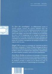 Sexe Des Sociologues (Le) - 4ème de couverture - Format classique