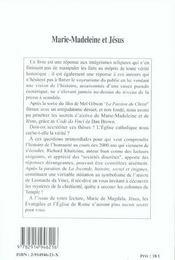 Marie Madeleine Et Jesus - 4ème de couverture - Format classique