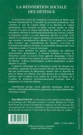 La réinsertion sociale des détenus ; de l'apport des surveillants de prison et des autres professionnels pénitentiaires - 4ème de couverture - Format classique