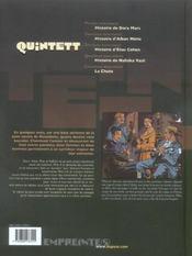 Quintett t.3 ; histoire d'Elias Cohen - 4ème de couverture - Format classique