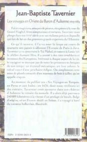 Les Voyages En Orient Du Baron D'Aubonne 1605-1689 - 4ème de couverture - Format classique