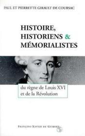 Histoire Historiens Memorialstes - Couverture - Format classique