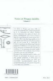 Notes Et Propos Inedits T. 2 - 4ème de couverture - Format classique