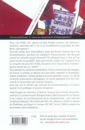 Altermondialisme ; le nouveau mouvement d'emancipation ? - 4ème de couverture - Format classique