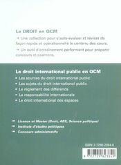 Le Droit International Public En Qcm - 4ème de couverture - Format classique