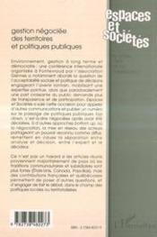 Revue Espaces Et Societes T.97-98 ; Gestion Négociée Des Territoires Et Politiques Publiques - 4ème de couverture - Format classique