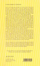 Entre scribes et ecrivains - 4ème de couverture - Format classique