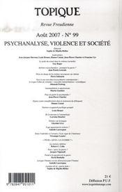 Psychanalyse, violence et société - 4ème de couverture - Format classique