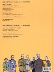 Blake Et Mortimer T.13 ; L'Affaire Francis Blake - 4ème de couverture - Format classique