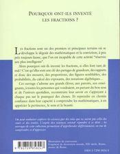Pourquoi Ont-Ils Invente Les Fractions ? No1 - 4ème de couverture - Format classique