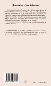 Souvenirs D'Un Sahelien - 4ème de couverture - Format classique