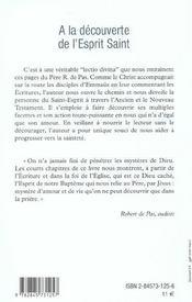 A La Decouverte De L'Esprit Saint - 4ème de couverture - Format classique