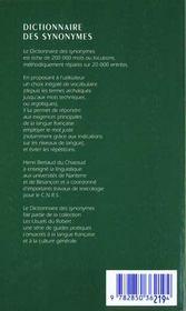 Le Dictionnaire Des Synonymes - 4ème de couverture - Format classique