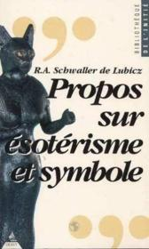 Propos Sur Esoterisme Et Symbole - Couverture - Format classique