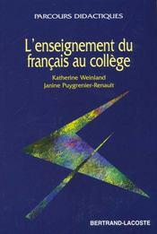 L'Enseignement Du Francais Au College - Intérieur - Format classique