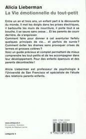La Vie Emotionnelle Du Tout-Petit - 4ème de couverture - Format classique