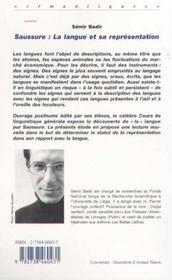Saussure ; La Langue Et Sa Representation - 4ème de couverture - Format classique
