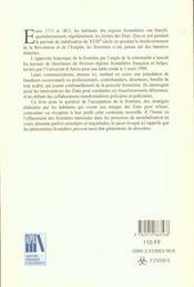 Frontiere Et Criminalite 1715-1815 - 4ème de couverture - Format classique