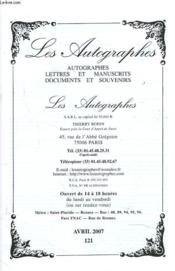 Catalogue N° 121. Autographes, Livres Et Manuscrits, Documents Et Souvenirs. - Couverture - Format classique