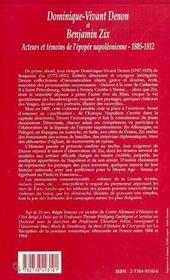 Dominique-Vivant Denon Et Benjamin Zix ; Acteurs Et Temoins De L'Epopee Napoleonienne, 1805-1812 - 4ème de couverture - Format classique