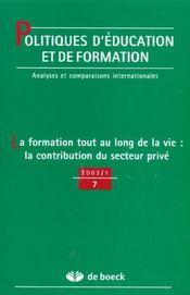Politique D'Education Et De Formation N.7 ; La Formation Tout Au Long De La Vie: La Contribution Du Secteur Privé - Intérieur - Format classique