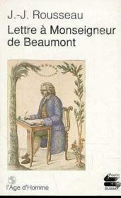 Lettre A Monseigneur De Beaumont - Couverture - Format classique