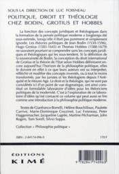 Politique Droit Et Theologie Chez Bodin,Grotius,Hobbes - 4ème de couverture - Format classique