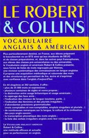 Robert et collins vocabulaire anglais et americain - 4ème de couverture - Format classique