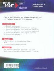 Institutions internationales (2e édition) - 4ème de couverture - Format classique