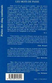 Les Mots De Passe : 1954-1959 - 4ème de couverture - Format classique