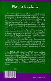 Platon Et La Medecine ; Le Corps Affaibli Et L'Ame Attristee - 4ème de couverture - Format classique