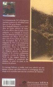 Zovy, 1947 ; au coeur de l'insurrection malgache - 4ème de couverture - Format classique