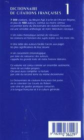 Le Dictionnaire Des Citations Francaises T.1 ; De La Chanson De Roland A Beaumarchais ; 20e Edition - 4ème de couverture - Format classique