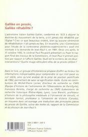 Galilée en procès, Galilée réhabilité ? - 4ème de couverture - Format classique