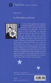 Le Pretendant Americain - 4ème de couverture - Format classique