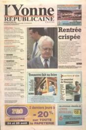 Yonne Republicaine (L') N°195 du 24/08/2001 - Couverture - Format classique