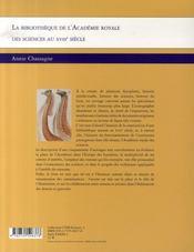 La Bibliotheque De L'Academie Royale Des Sciences Au Xviii Siecle - 4ème de couverture - Format classique