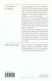 L'Enfance Oubliee - 4ème de couverture - Format classique