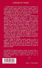 Lapicque Et Venise, 1954-1956 ; Le Journal Venitien Inedit De Lapicque - 4ème de couverture - Format classique