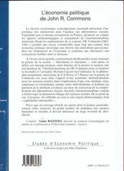 L'économie politique de John R. Commons ; essai sur l'institutionnalisme en sciences sociales - 4ème de couverture - Format classique