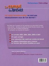 La compil du brevet 2003-2007 ; maths ; série collège - 4ème de couverture - Format classique