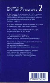 Le Dictionnaire Des Citations Francaises T.2 ; 20e Edition - 4ème de couverture - Format classique